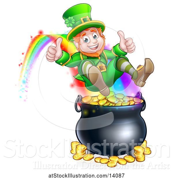 Vector Illustration of St Patricks Day Leprechaun Giving Two Thumbs Up, Riding a Rainbow to the Top of a Pot of Gold