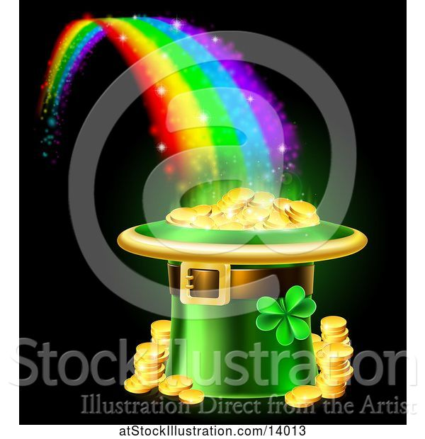 Vector Illustration of St Patricks Day Leprechaun Hat Full of Gold Coins at the End of a Rainbow, on Black