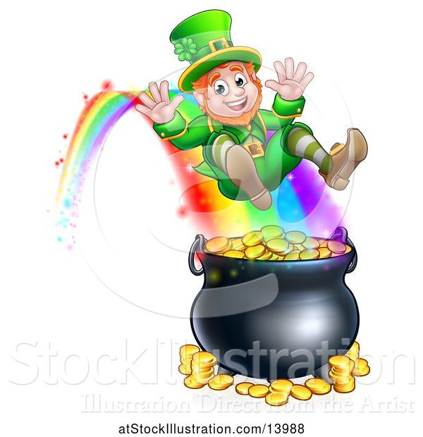 Vector Illustration of St Patricks Day Leprechaun Riding a Rainbow to the Top of a Pot of Gold