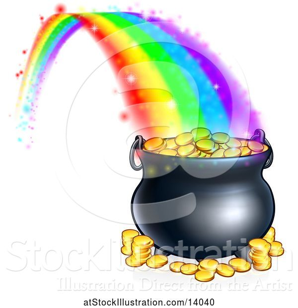 Vector Illustration of St Patricks Day Rainbow Ending at a Leprechauns Pot of Gold