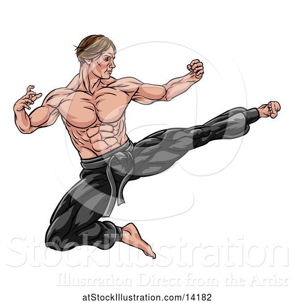 Vector Illustration of Strong Muscular Male Martial Artist Kicking