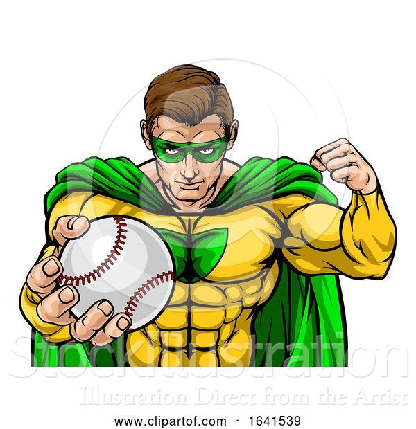 Vector Illustration of Superhero Holding Baseball Ball Sports Mascot