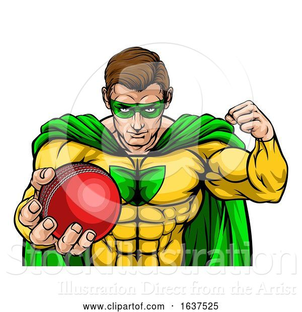 Vector Illustration of Superhero Holding Cricket Ball Sports Mascot