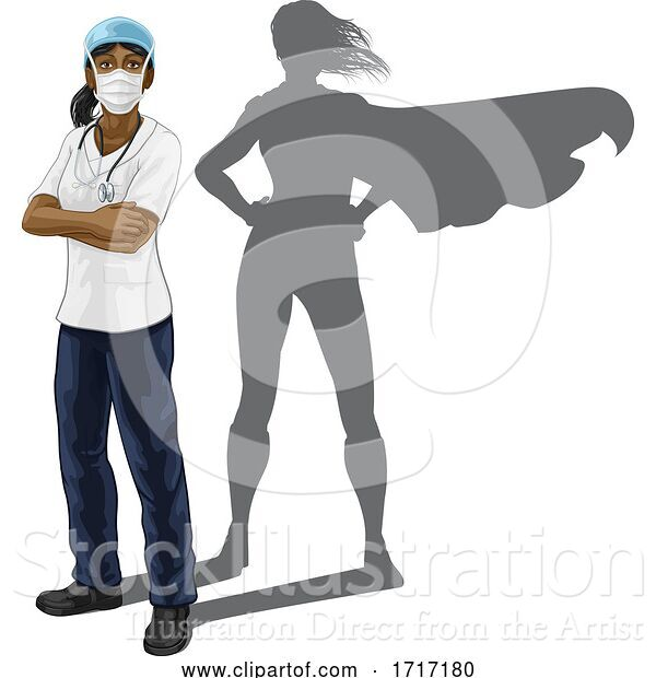 Vector Illustration of Superhero Nurse Doctor Lady Super Hero Shadow
