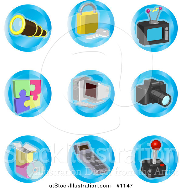 Vector Illustration of Telescope, Padlock, Television, Puzzle, Computer, Camera, Disc, Calculator and Joystick Color Icons on a White Background