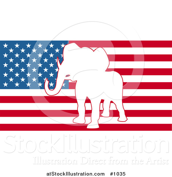 Vector Illustration of the American Flag with Republican Elephant