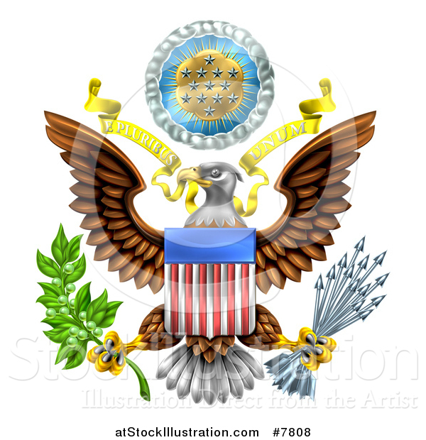 Vector Illustration of the Great Seal of the United States Bald Eagle with an American Flag Shield, Holding an Olive Branch and Arrows, with E Pluribus Unum Scroll and Stars