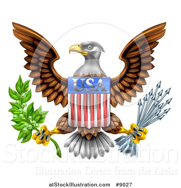 Vector Illustration of the Great Seal of the United States Bald Eagle with an American USA Flag Shield, Holding an Olive Branch and Silver Arrows