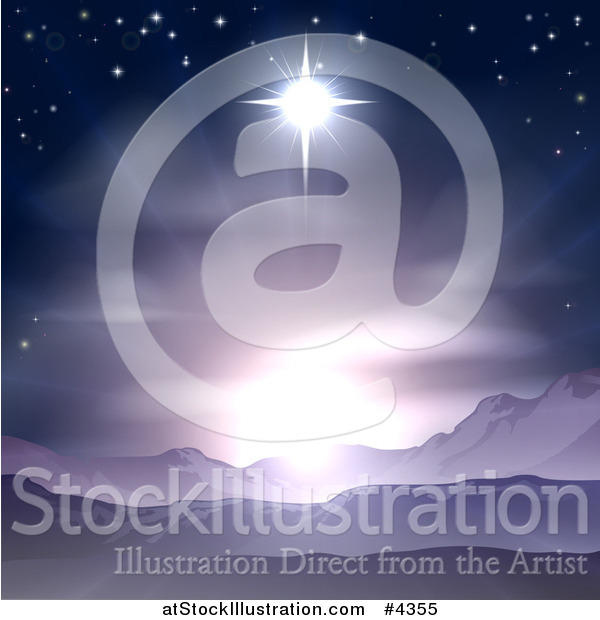 Vector Illustration of the Star of Bethlehem Shining over Mountains Nativity Desert Landscape