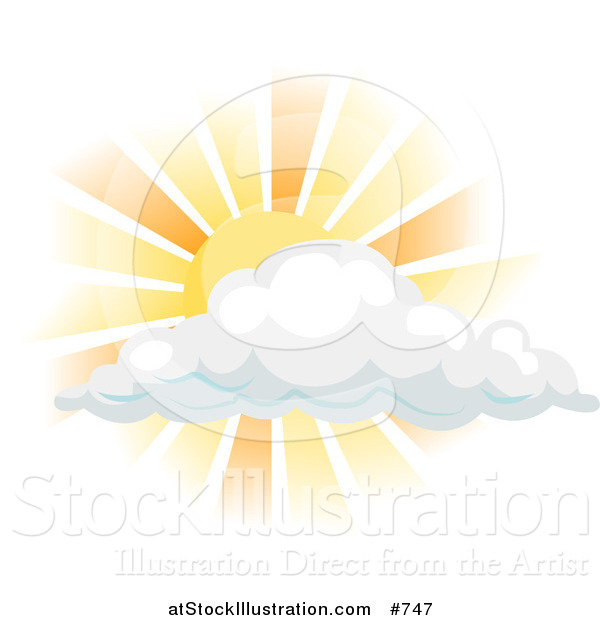 Vector Illustration of the Sun Shining Behind a Cloud