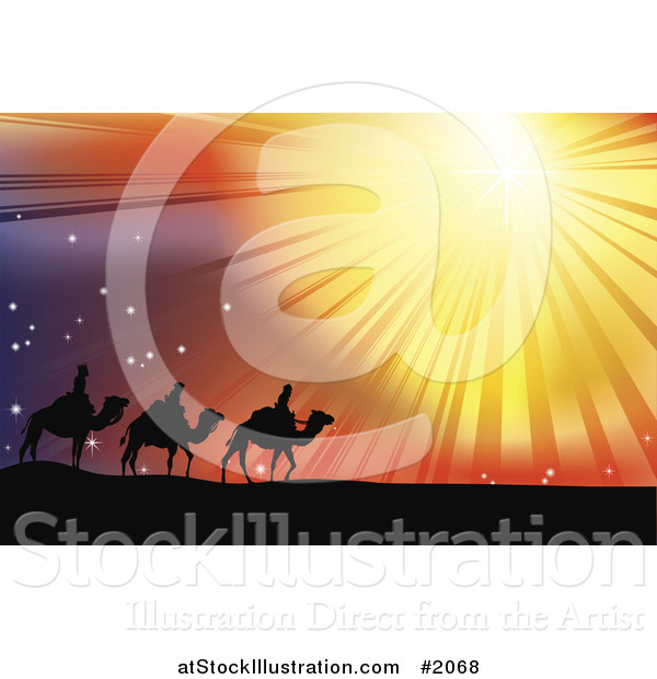 Vector Illustration of Three Wise Men Following the Star of Bethlehem in the Desert