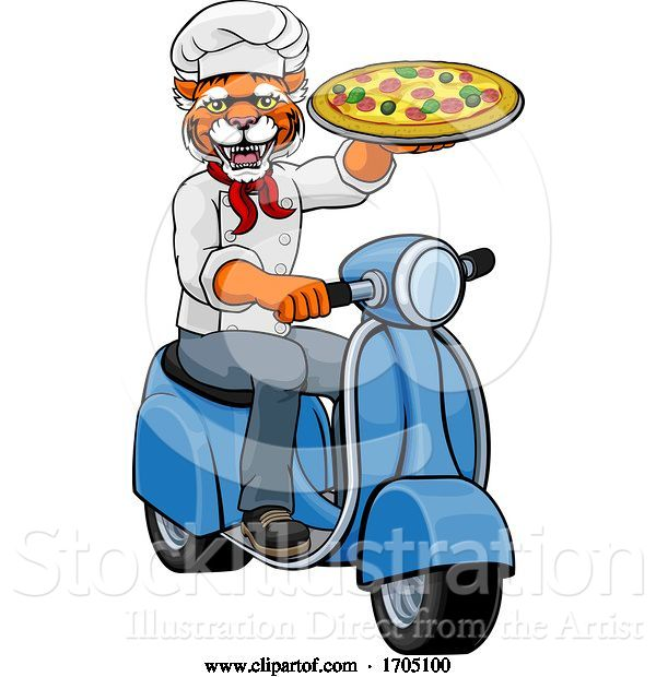 Vector Illustration of Tiger Chef Pizza Restaurant Delivery Scooter