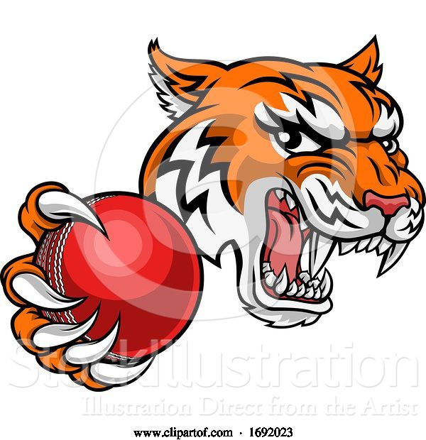 Vector Illustration of Tiger Cricket Player Animal Sports Mascot