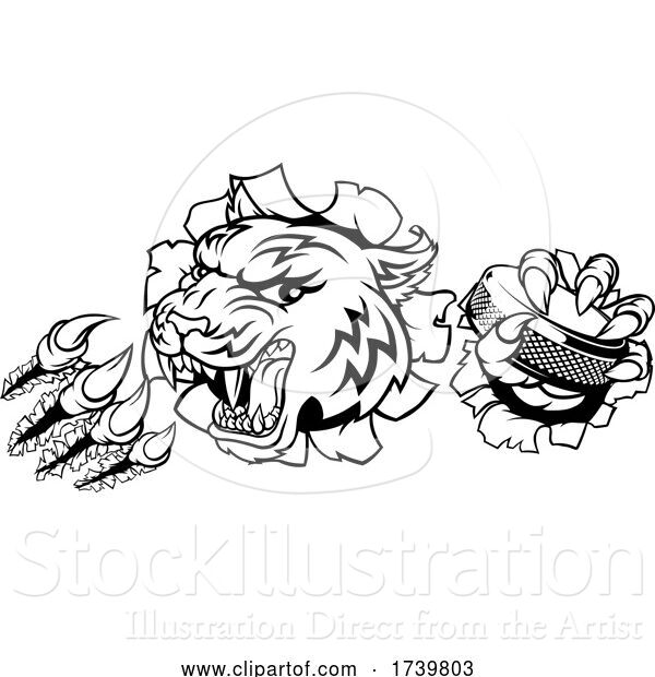 Vector Illustration of Tiger Ice Hockey Player Animal Sports Mascot