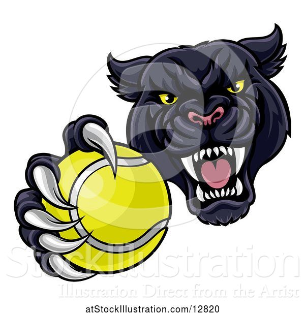 Vector Illustration of Tough Black Panther Monster Mascot Holding out a Tennis Ball in One Clawed Paw