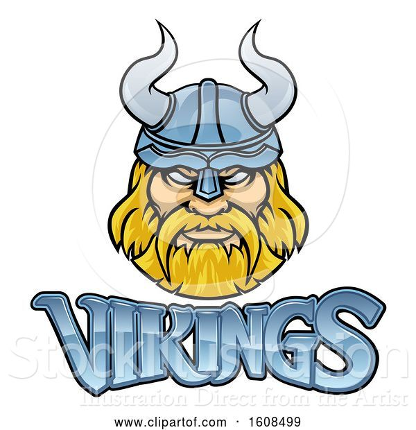 Vector Illustration of Tough Blond Male Warrior Face Wearing a Horned Helmet over Vikings Text