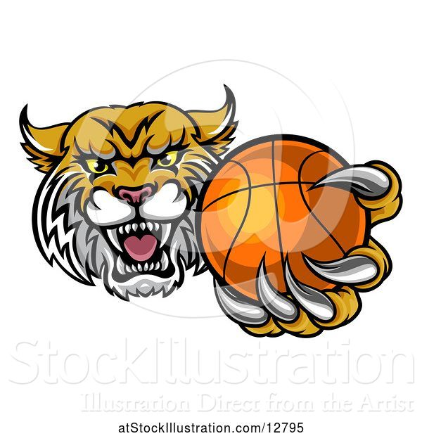Vector Illustration of Tough Bobcat Lynx Monster Mascot Holding out a Baseball in One Clawed Paw