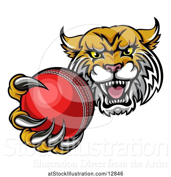 Vector Illustration of Tough Lynx Monster Mascot Holding out a Cricket Ball in One Clawed Paw