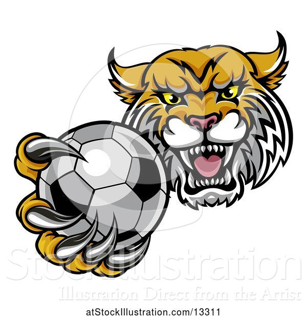 Vector Illustration of Tough Lynx Monster Mascot Holding out a Soccer Ball in One Clawed Paw