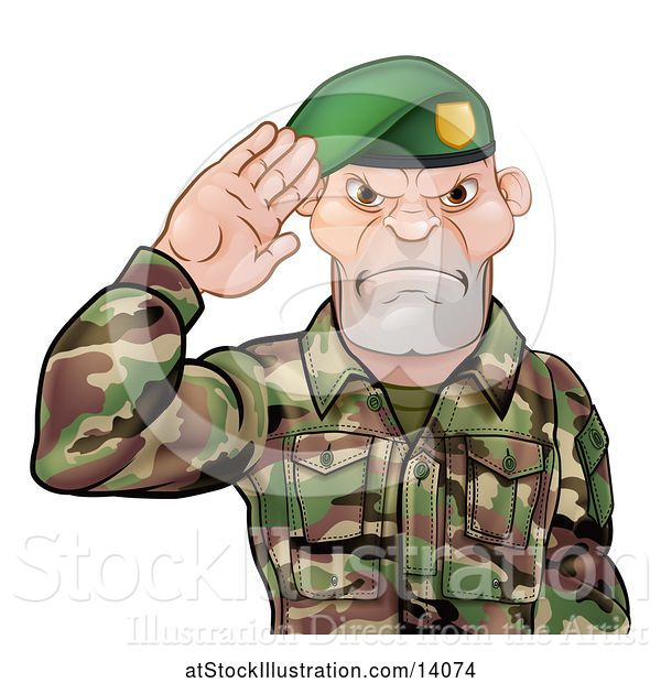 Vector Illustration of Tough Male Soldier Saluting and Wearing a Green Beret