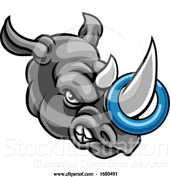 Vector Illustration of Tough Rhino Mascot with a Ringette on His Horn