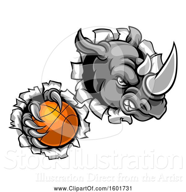 Vector Illustration of Tough Rhino Monster Mascot Holding a Basketball in One Clawed Paw and Breaking Through a Wall