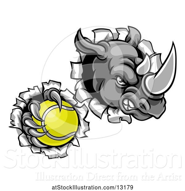 Vector Illustration of Tough Rhino Monster Mascot Holding a Tennis Ball in One Clawed Paw and Breaking Through a Wall