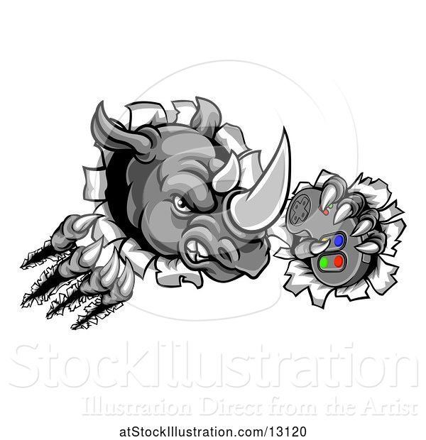 Vector Illustration of Tough Rhino Monster Mascot Holding a Video Game Controller and Breaking Through a Wall