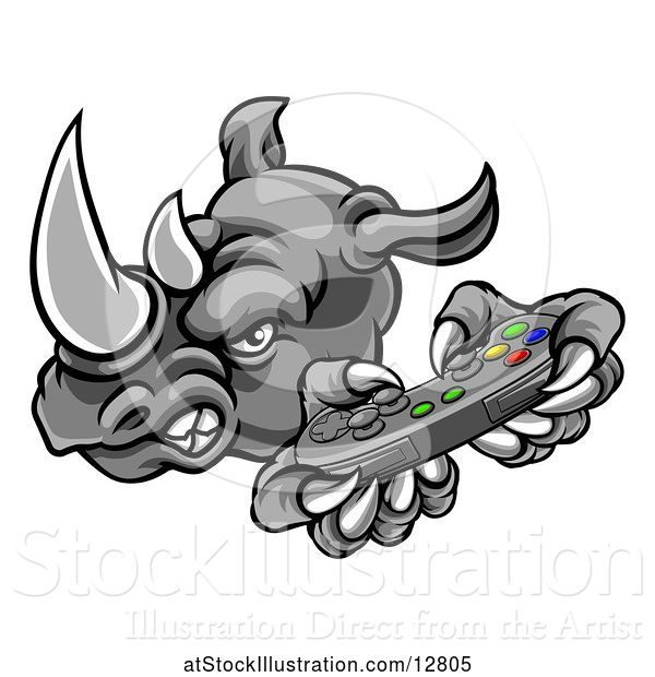 Vector Illustration of Tough Rhino Monster Mascot Holding a Video Game Controller