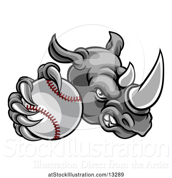 Vector Illustration of Tough Rhino Monster Mascot Holding out a Baseball in One Clawed Paw