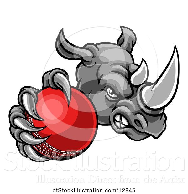 Vector Illustration of Tough Rhino Monster Mascot Holding out a Cricket Ball in One Clawed Paw