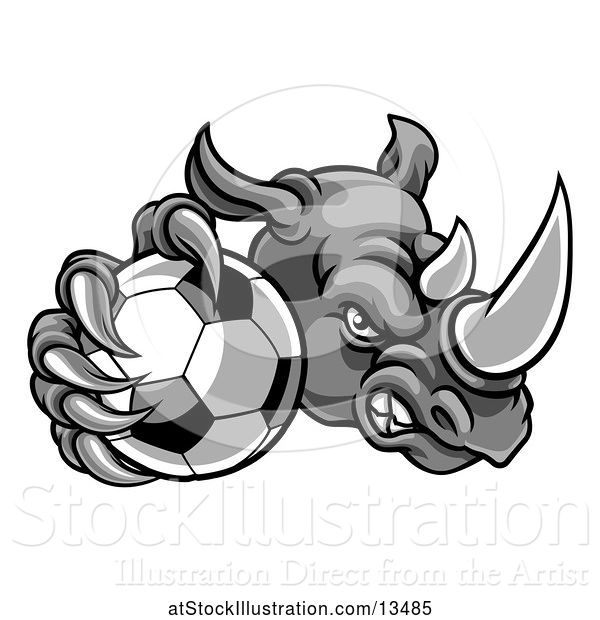 Vector Illustration of Tough Rhino Monster Mascot Holding out a Soccer Ball in One Clawed Paw