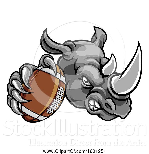 Vector Illustration of Tough Rhino Monster Mascot Holding out an American Football in One Clawed Paw