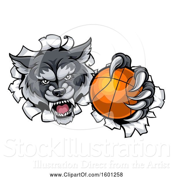 Vector Illustration of Tough Wolf Monster Mascot Holding out a Basketball in One Clawed Paw and Breaking Through a Wall