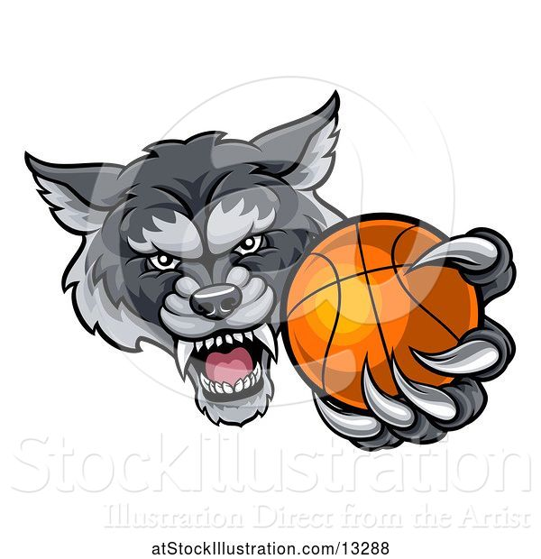 Vector Illustration of Tough Wolf Monster Mascot Holding out a Basketball in One Clawed Paw