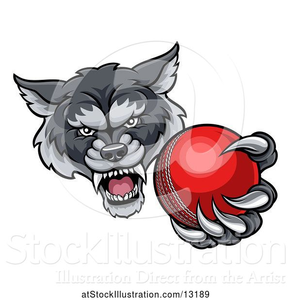 Vector Illustration of Tough Wolf Monster Mascot Holding out a Cricket Ball in One Clawed Paw