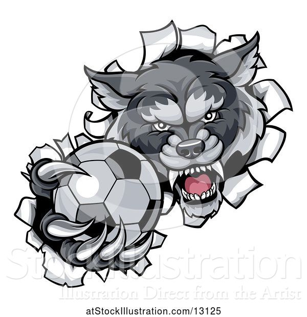 Vector Illustration of Tough Wolf Monster Mascot Holding out a Soccer Ball in One Clawed Paw and Breaking Through a Wall