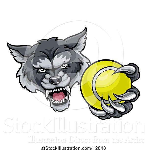 Vector Illustration of Tough Wolf Monster Mascot Holding out a Tennis Ball in One Clawed Paw