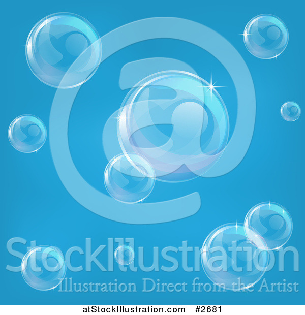 Vector Illustration of Transparent Bubbles Floating over Blue