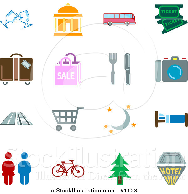 Vector Illustration of Travel Related Icons - Colored Versions