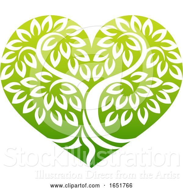 Vector Illustration of Tree Heart Shaped Icon Concept