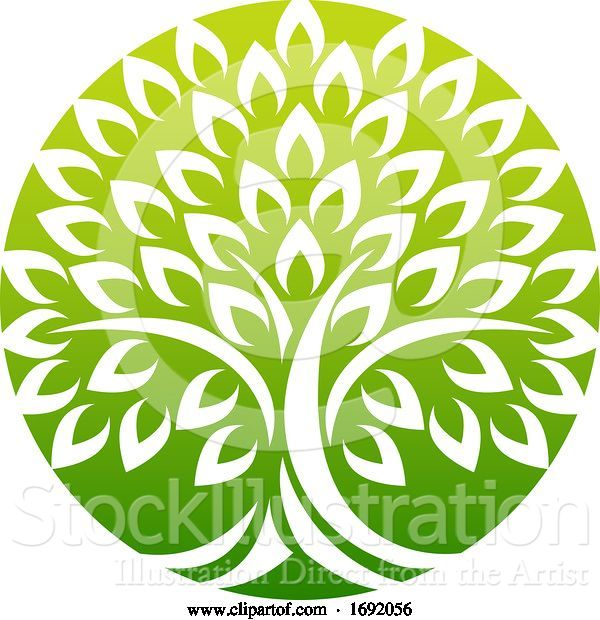 Vector Illustration of Tree Icon Concept of a Stylised Tree with Leaves