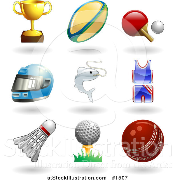 Vector Illustration of Trophy Cup, Rugby Ball, Ping Pong Paddle and Ball, Helmet, Fish, Uniform, Shuttlecock, Golfball on Tee and a Cricket Ball