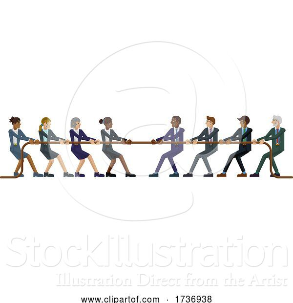 Vector Illustration of Tug of War Rope Pulling Business People Concept