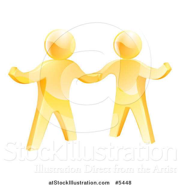 Vector Illustration of Two 3d Gold Men Shaking Hands and One Gesturing