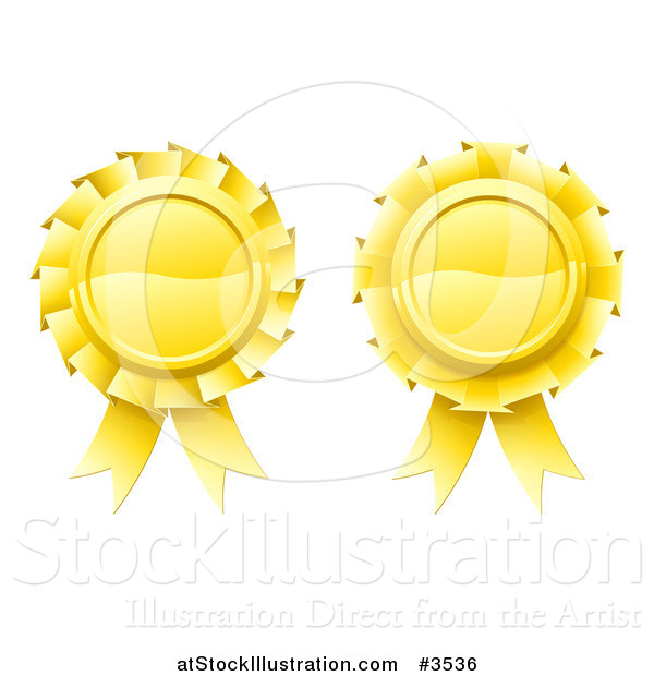 Vector Illustration of Two 3d Golden Medal Rosette Awards