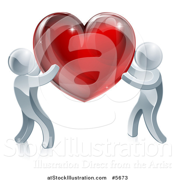 Vector Illustration of Two 3d Silver People Carrying a Red Heart