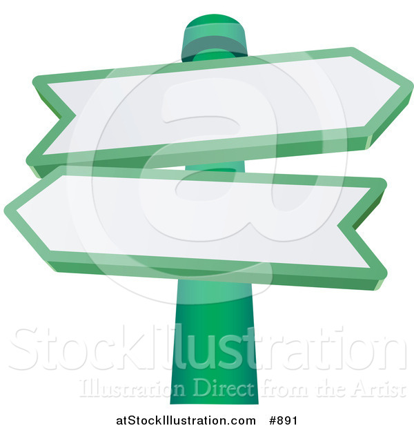 Vector Illustration of Two Blank Arrow Shaped Street Signs Pointing in Different Directions on a Green Pole