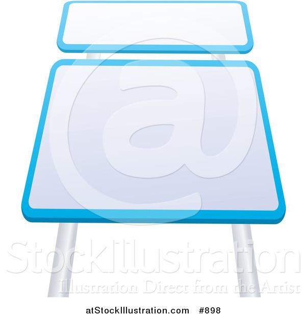 Vector Illustration of Two Blank Blue and White Road Signs