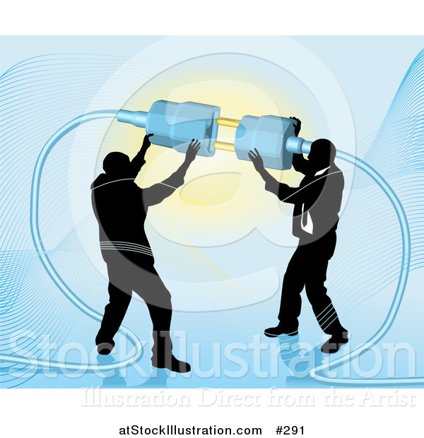 Vector Illustration of Two Businessmen Working Together to Connect a Plug and Socket over Blue